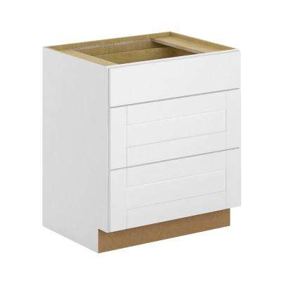 Princeton Shaker Assembled 30x34.5x24 in. Pots and Pans Drawer Base Cabinet in Warm White