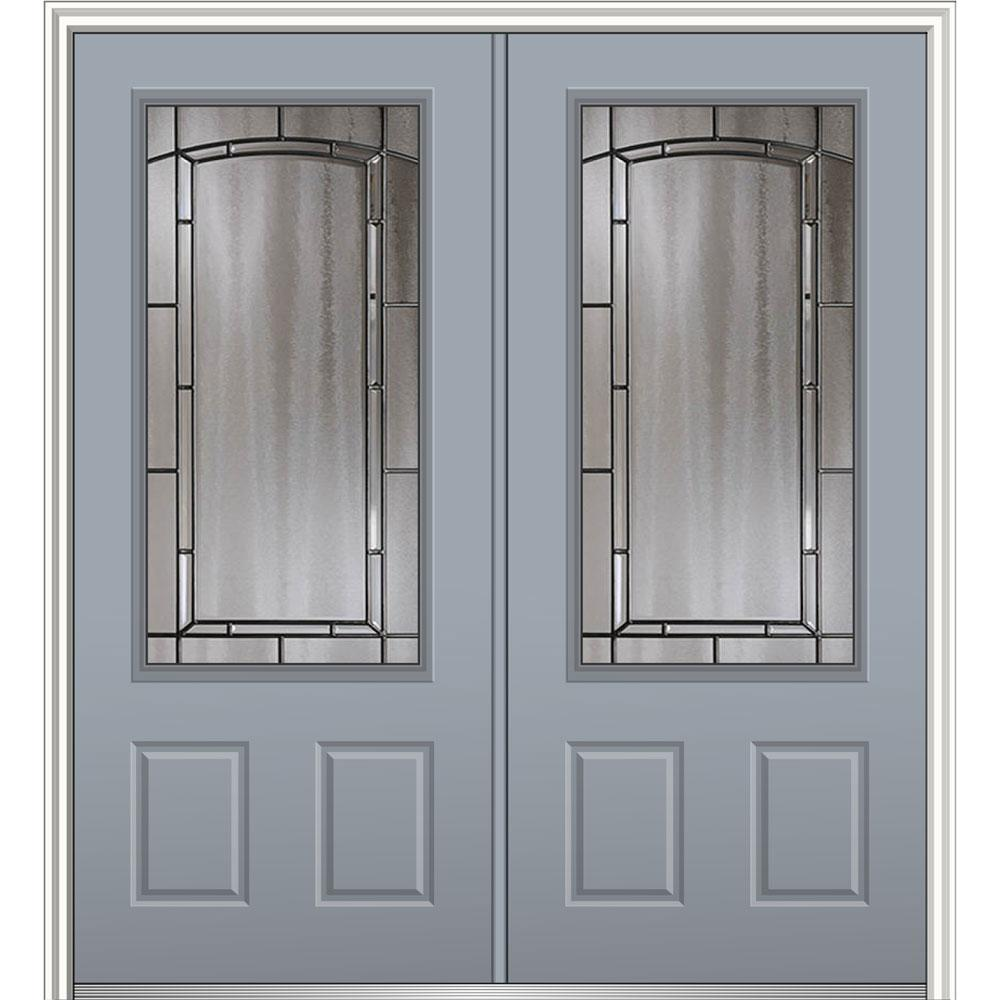 Mmi door 72 in x 80 in solstice glass left hand 3 4 lite for Prehung exterior doors with storm door