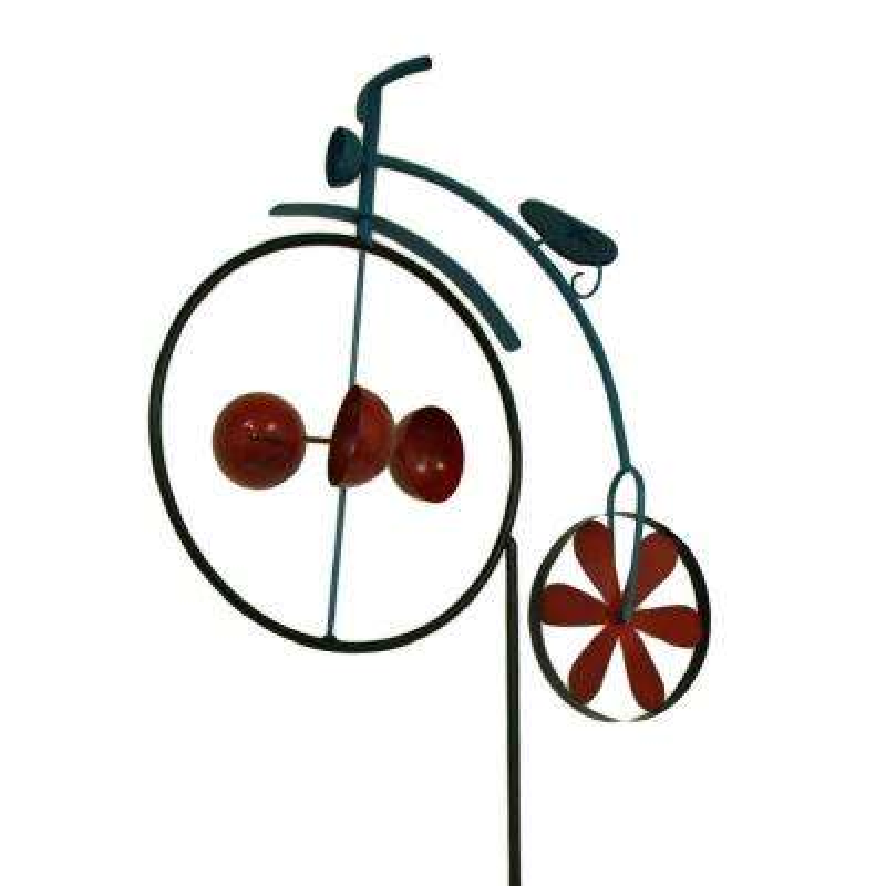 Penny Farthing Vintage Bicycle Wind Cup Pinwheel Garden Stake