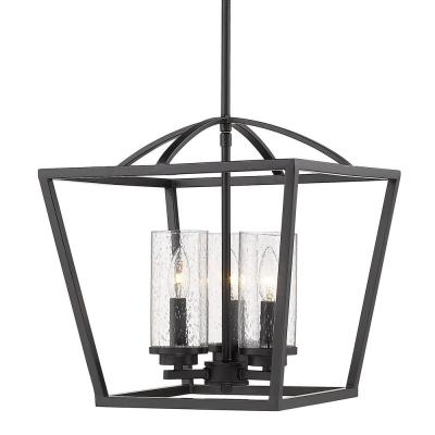 Mercer 3-Light Pendant in Matte Black with Matte Black Accents and Seeded Glass
