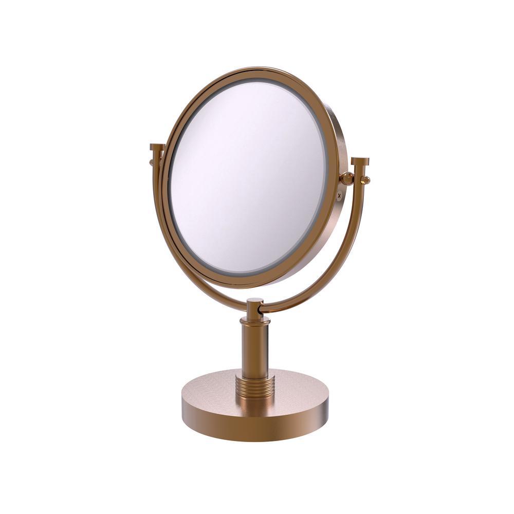 8 in. x 15 in. Vanity Top Makeup Mirror 5x Magnification in Brushed Bronze