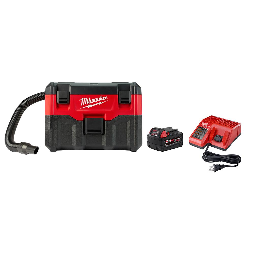 Milwaukee M18 18-Volt Lithium-Ion Cordless 2 Gal. Wet/Dry Vacuum with (1) 5.0Ah Battery and Charger