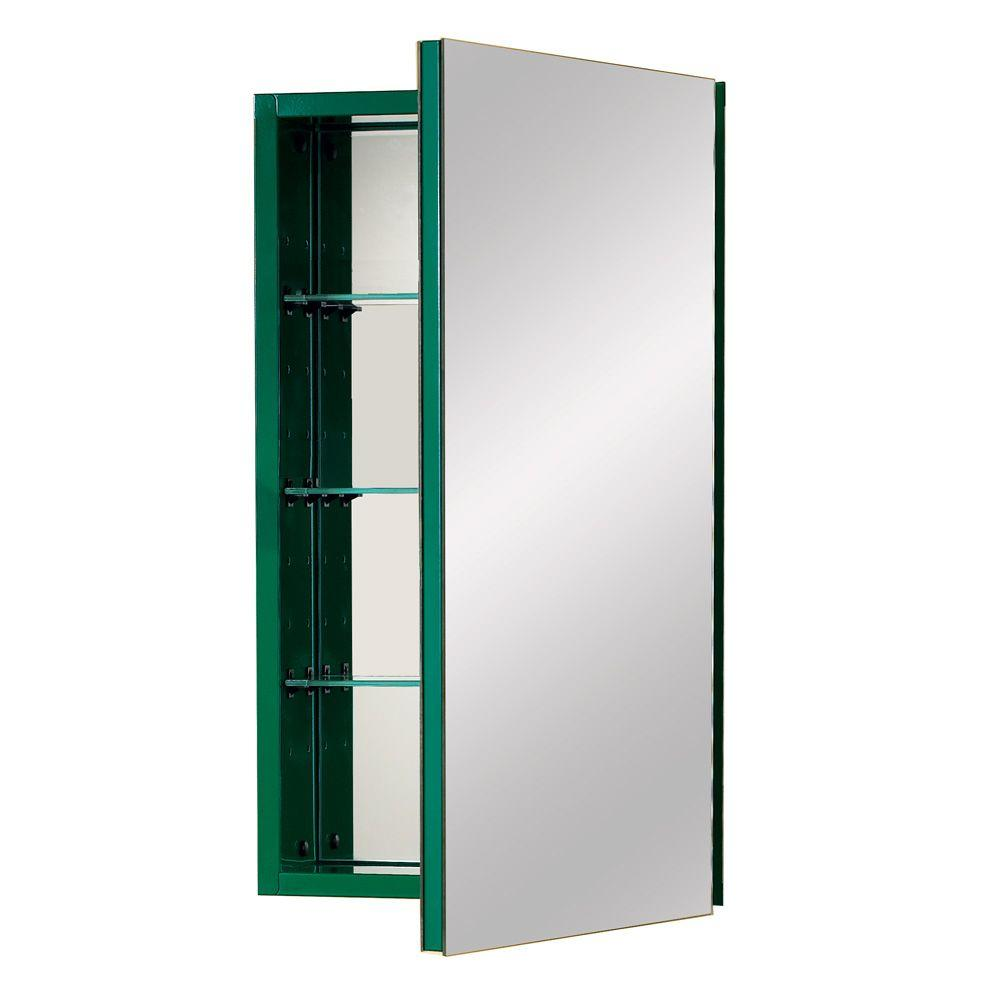 NuTone I Color 15 in. W Recessed Mirrored Medicine Cabinet in Racing Green-DISCONTINUED