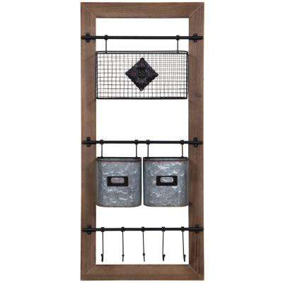 Gallery Solutions 4.7 in. x 35.8 in. 16 in. Brown and Silver Wood Cubby Wall Organizer Decorative Shelf