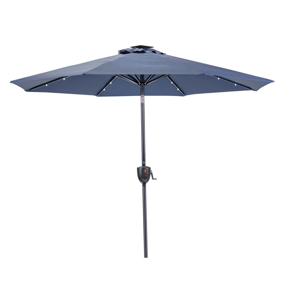 9 ft. Round Bluetooth Speaker Solar Lighted Market Umbrella in Navy