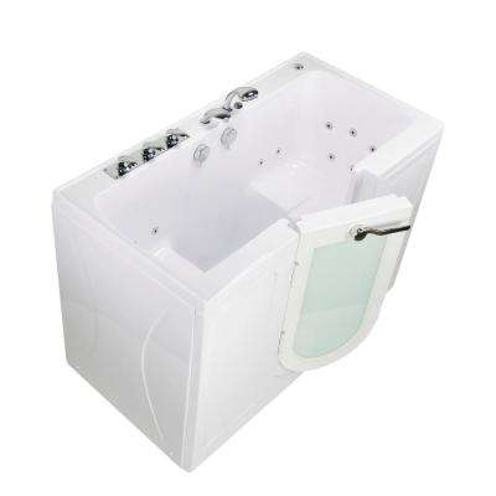 Tub4Two 60 in. Acrylic Walk-In Whirlpool Bathtub in White, Left Outward Door, Fast Fill Faucet, 2 in. Dual Drain