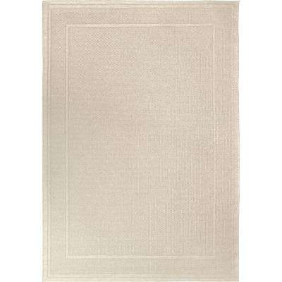 Off the Coast Ivory 8 ft. x 11 ft. Border Indoor/Outdoor Area Rug