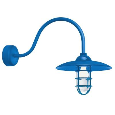 Retro Industrial 23 in. Arm 1-Light Blue Clear Glass Lens Outdoor Wall Mount Sconce