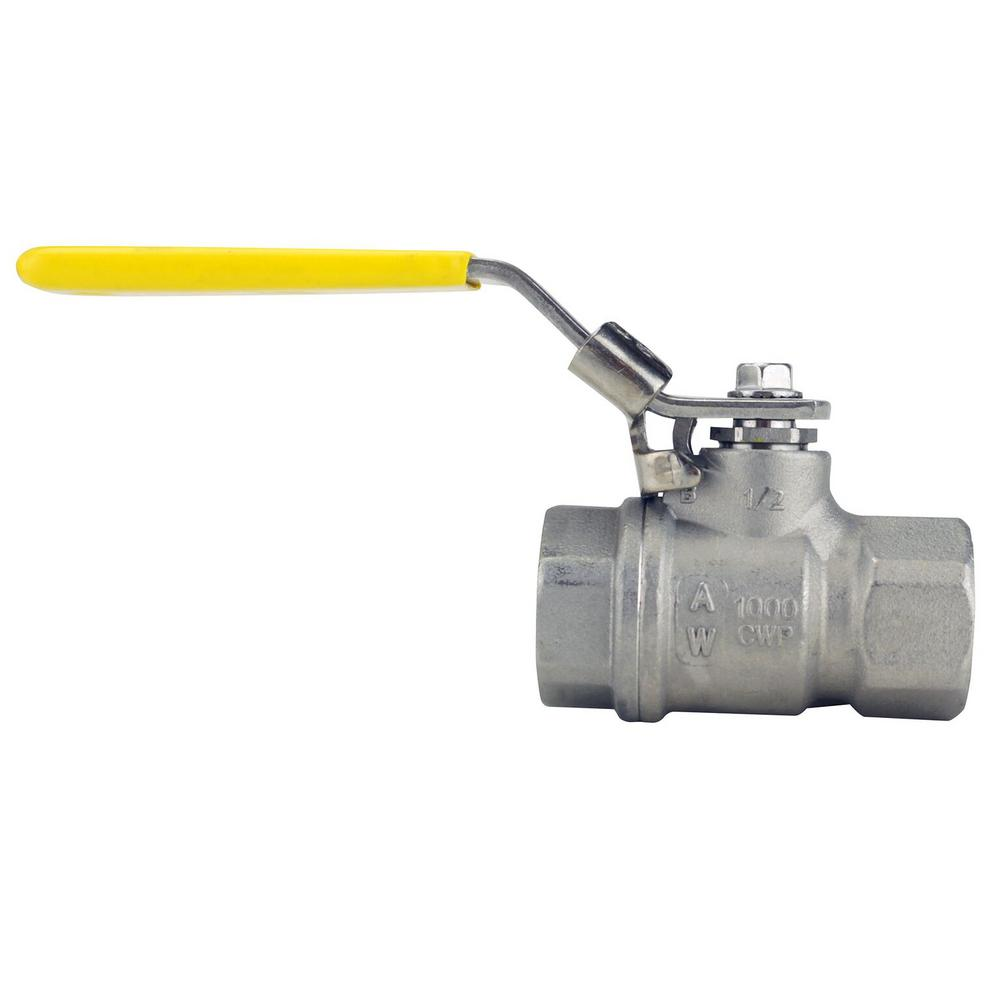Apollo 1/2 in. Stainless Steel FNPT x FNPT Full-Port Ball Valve With Latch Lock Lever