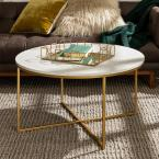 36 in. White/Gold Medium Round Faux Marble Coffee Table with X-Base