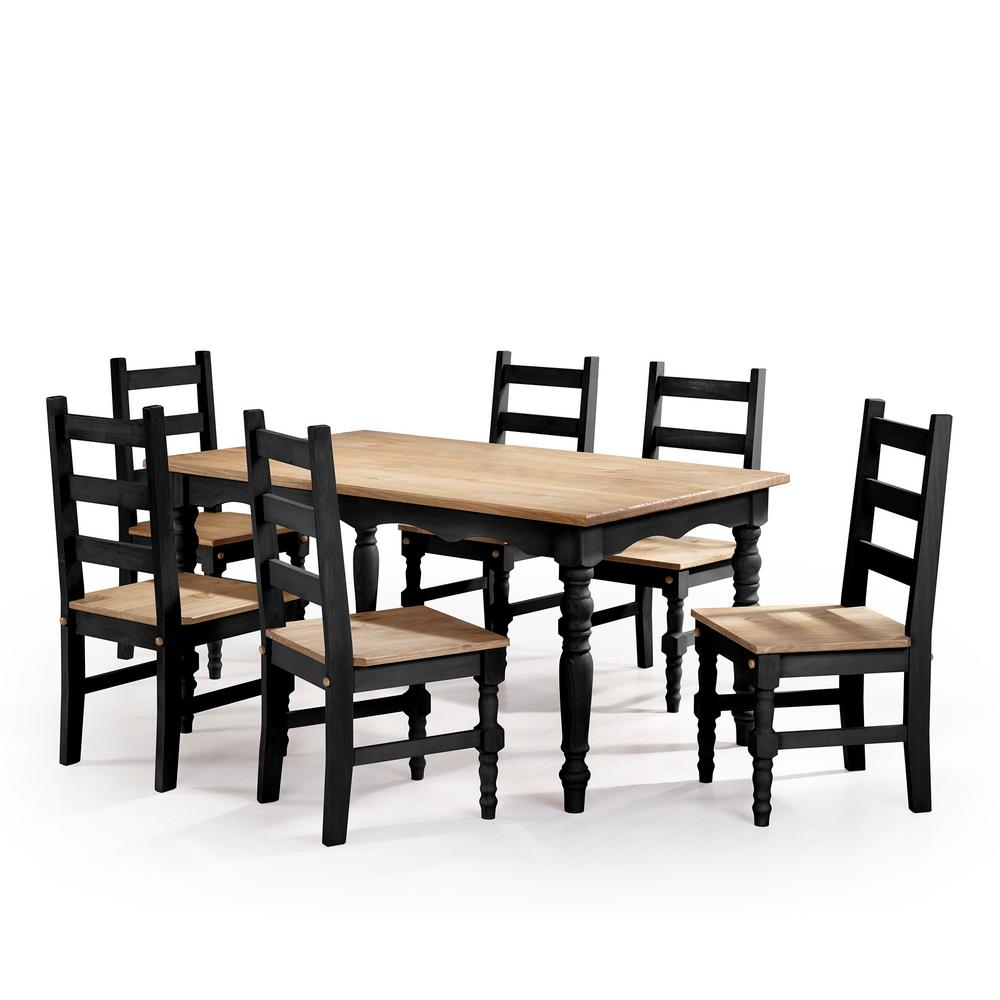 Manhattan comfort jay 7 piece black wash solid wood dining set with 6 chairs