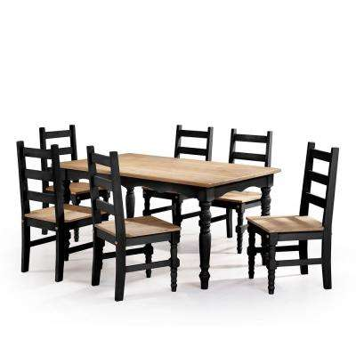 Jay 7-Piece Black Wash Solid Wood Dining Set with 6-Chairs and 1-Table
