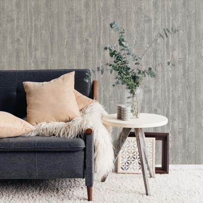 Portland Wood Peel and Stick Wallpaper Grey Vinyl Peelable Roll (Covers 28.2 sq. ft.)