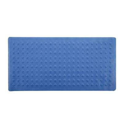 18 in. x 36 in. Extra Long Rubber Bath Safety Mat in Blue