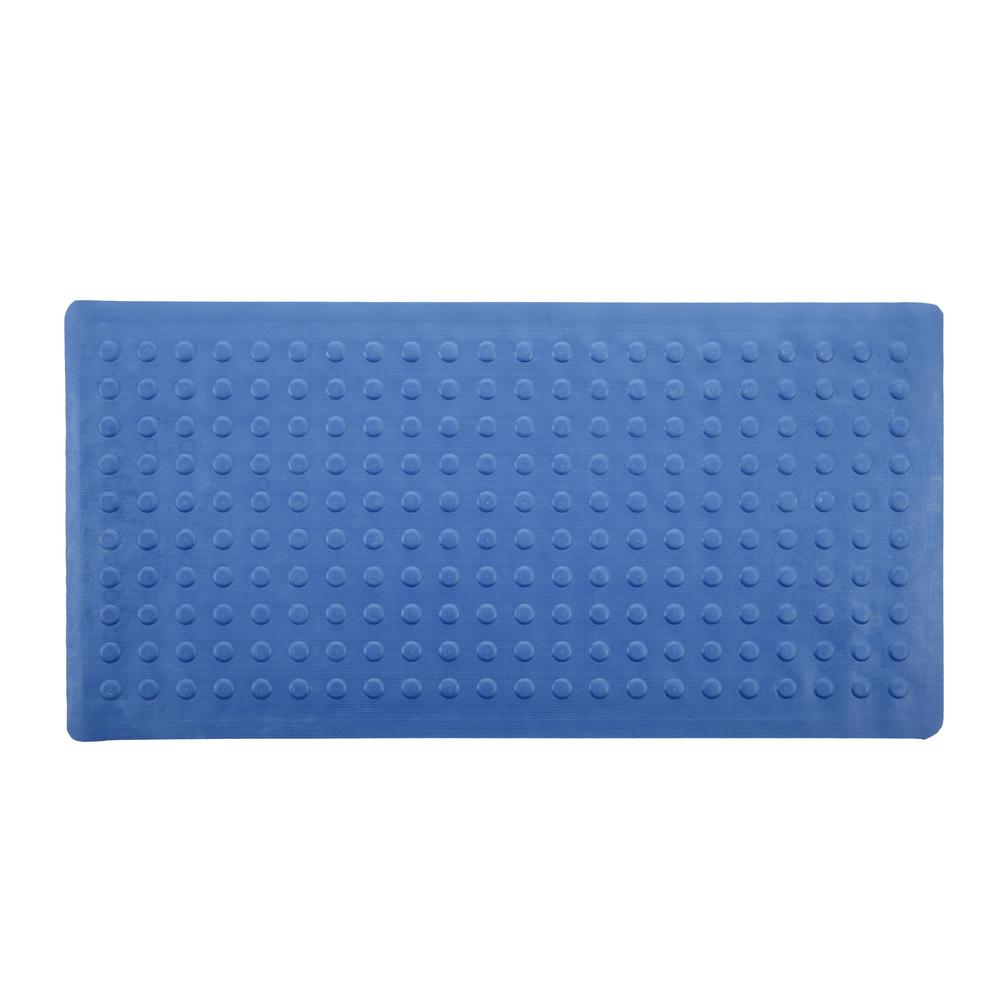 SlipX Solutions 18 in. x 36 in. Rubber Bath Mat in Blue-06660-1 ...