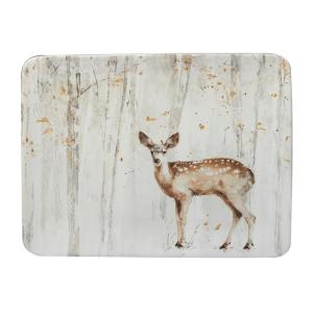 A Woodland Walk 16 in. x 12 in. Grey and Sepia Ceramic Rectangular Platter