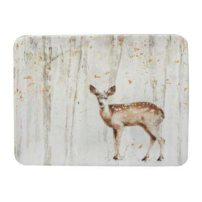 A Woodland Walk 16 in. x 12 in. Grey and Sepia Ceramic Rectangular Platter