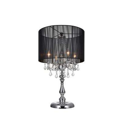 Sheer 32 in. Chrome Table Lamp with Black Shade