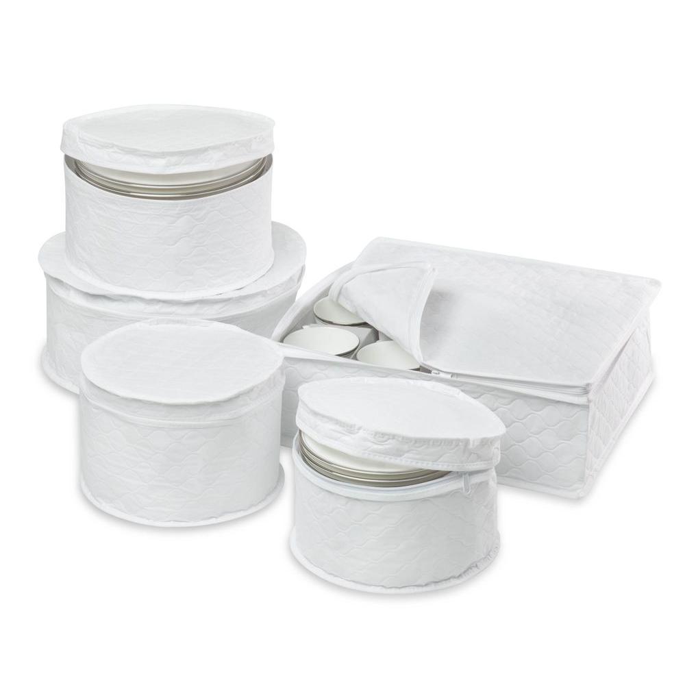 5-Piece Dinnerware Storage Set, White
