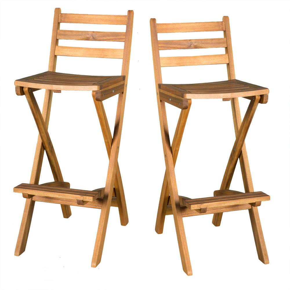 Marvelous Noble House Camden Foldable Wood Outdoor Bar Stool 2 Pack Gmtry Best Dining Table And Chair Ideas Images Gmtryco