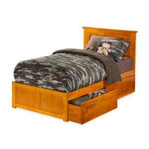 Nantucket Twin Platform Bed with Flat Panel Foot Board and 2 Urban Bed Drawers in Caramel