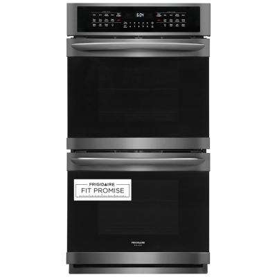27 in. Double Electric Wall Oven with True Convection Self-Cleaning in Black Stainless Steel