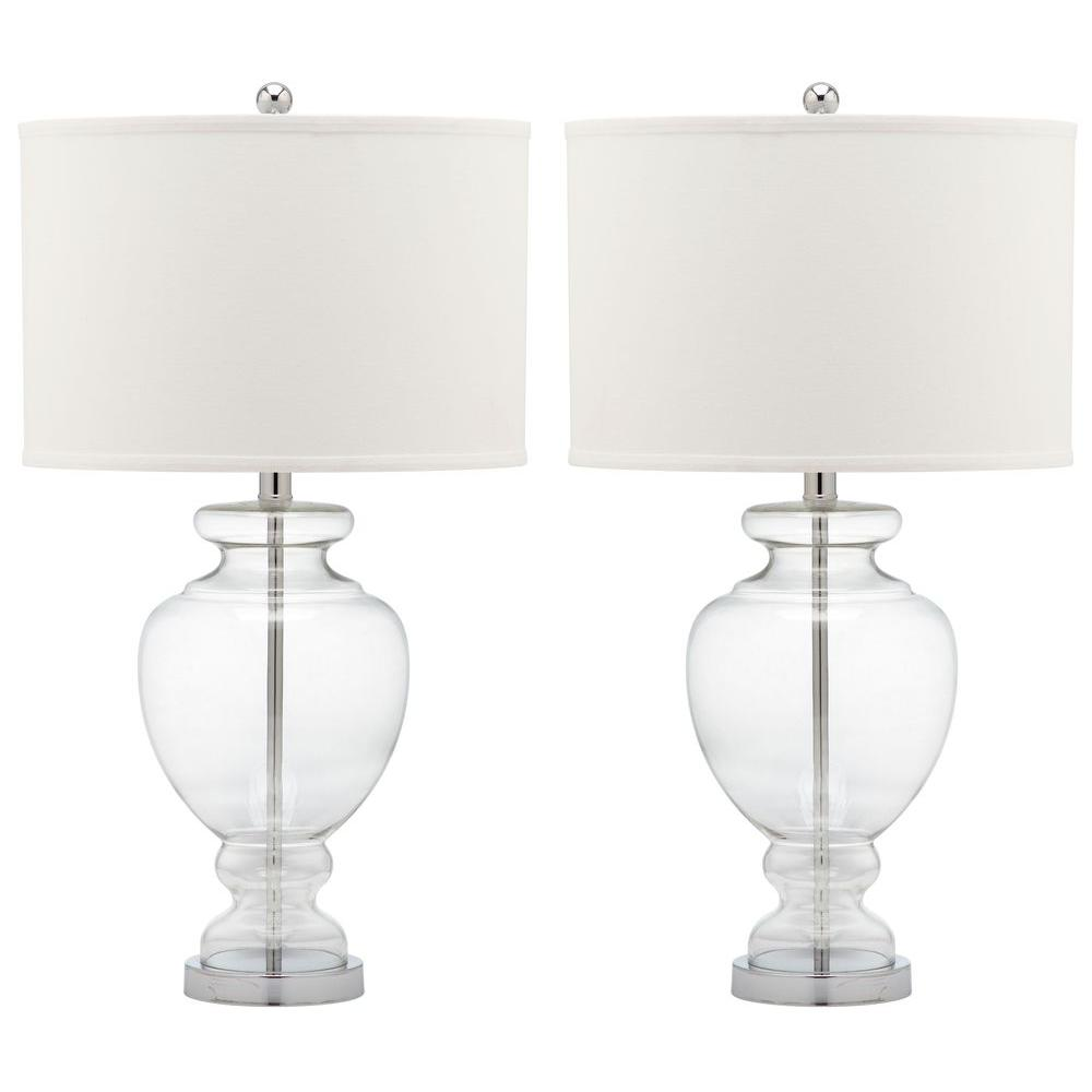 Safavieh glass 28 in clear table lamp with off white shade set of clear table lamp with off white shade set of aloadofball Choice Image
