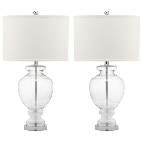 Glass 28 in. Clear Vase Table Lamp with Off-White Shade (Set of 2)