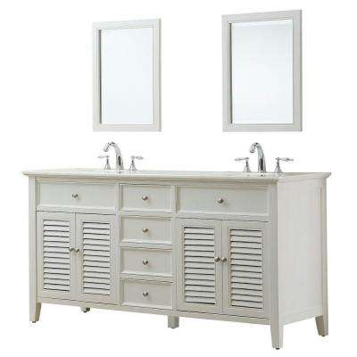 Shutter 70 in. Double Vanity in Pearl White with Regular Marble Vanity Top in White and Mirror