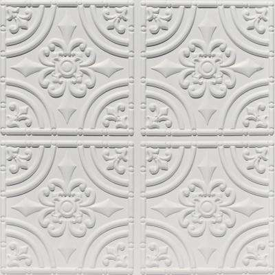 Wrought Iron 2 ft. x 2 ft. PVC Glue-up Ceiling Tile in White Matte
