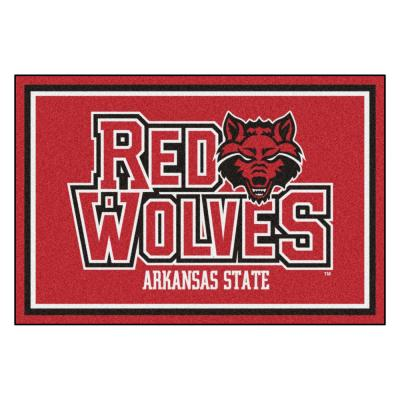 NCAA - Arkansas State University Red 8 ft. x 5 ft. Indoor Area Rug