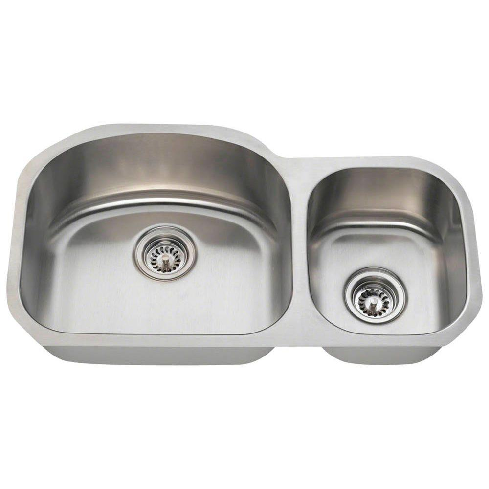 polaris sinks undermount stainless steel 32 in double bowl kitchen sink pl105 16 the home depot. Black Bedroom Furniture Sets. Home Design Ideas