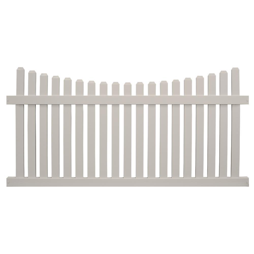 Richmond 5 ft. H x 8 ft. W Tan Vinyl Picket Fence Panel Kit