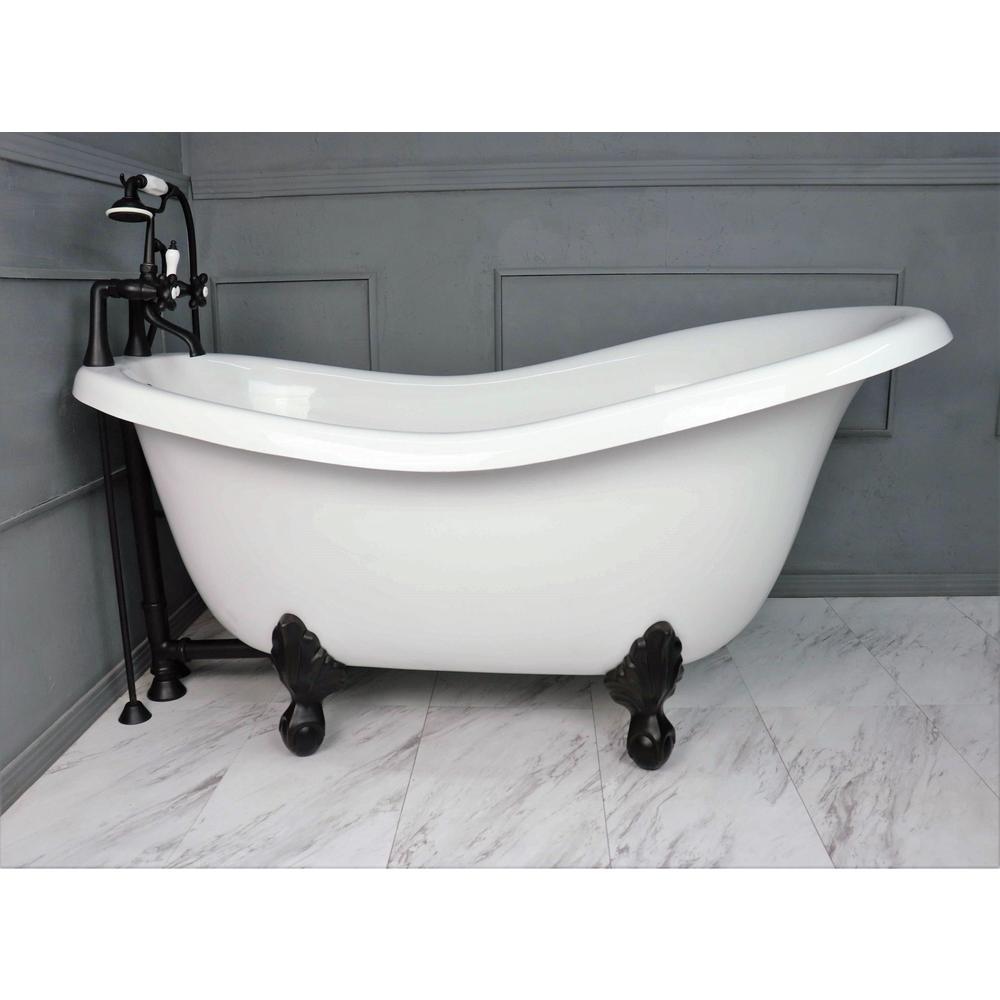 American Bath Factory 60 In Acrastone Acrylic Slipper Clawfoot Non