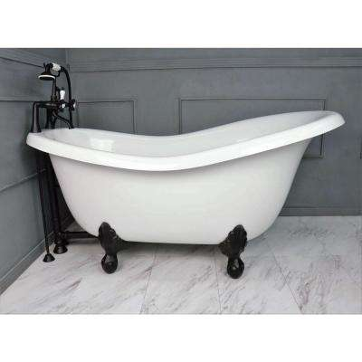 60 in. AcraStone Acrylic Slipper Clawfoot Non-Whirlpool Bathtubin White with Large Ball, Claw Feet Faucet in Old Bronze