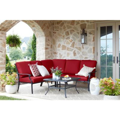 Redwood Valley Black 4-Piece Steel Outdoor Patio Sectional Sofa Set with CushionGuard Chili Red Cushions