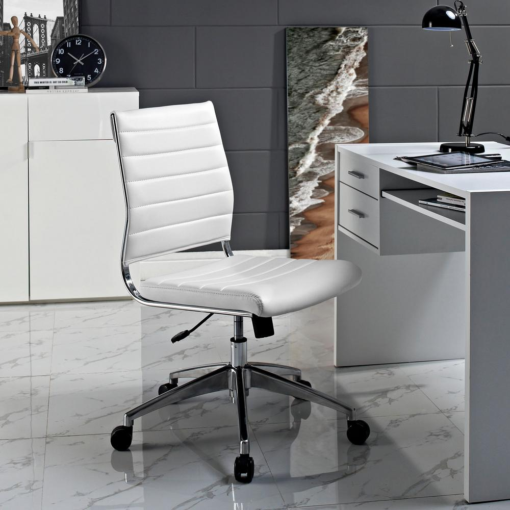 Modway Jive Armless Mid Back Office Chair In White Eei 1525 Whi