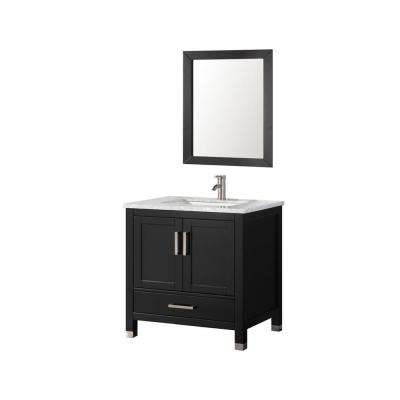 Ricca 30 in. W x 22 in. D x 36 in. H Vanity in Espresso with Marble Vanity Top in White with White Basin and Mirror