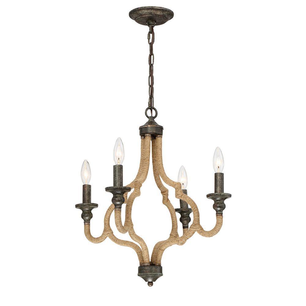 Corda Collection 4-Light Bronze Chandelier
