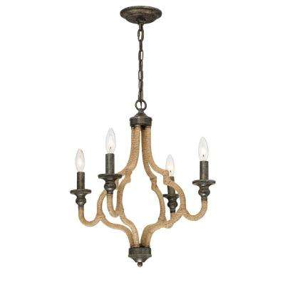 Corda Collection 4-Light Bronze Chandelier