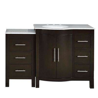 53.5 in. W x 22 in. D Vanity in Dark Walnut with Marble Vanity Top in Carrara White with White Basin