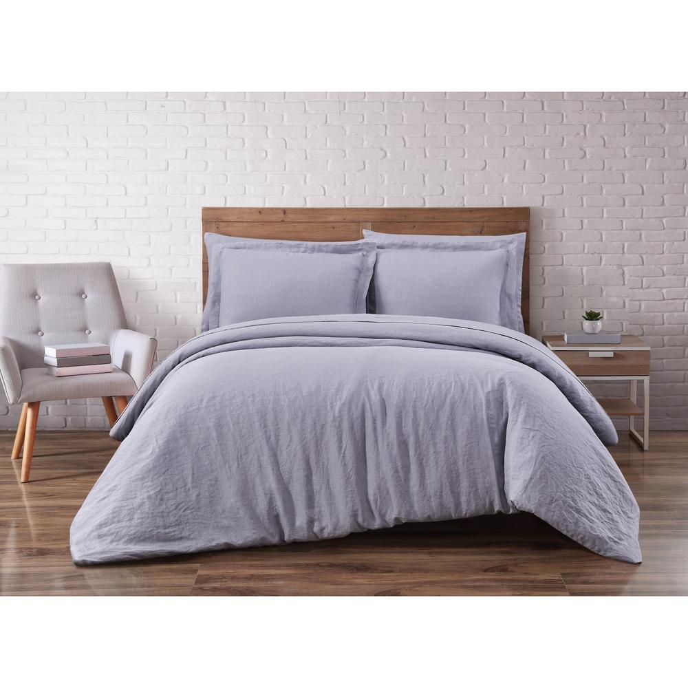 Brooklyn Loom Linen Grey King 3-Piece Duvet Set DCS2469GYK-1800