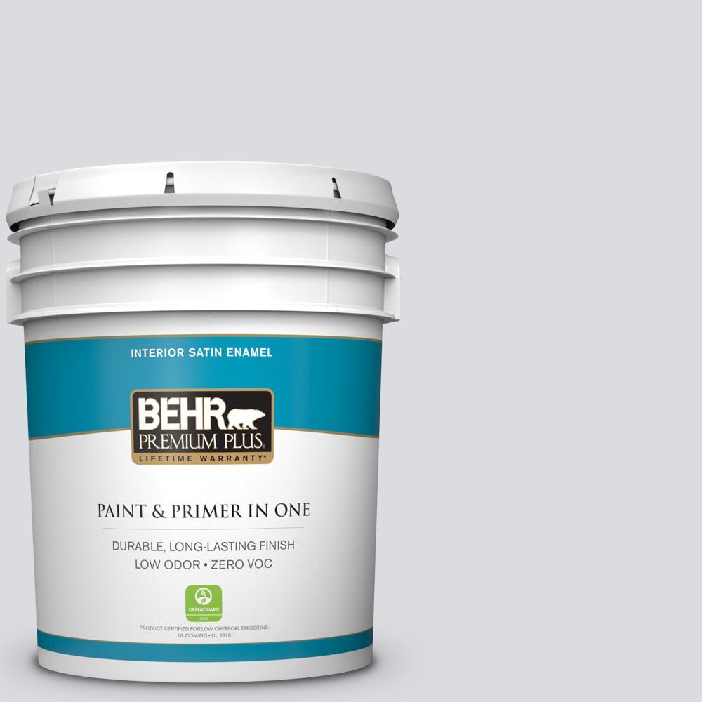 Behr Premium Plus 5 Gal N540 1 Script White Satin Enamel Zero Voc Interior Paint And Primer In
