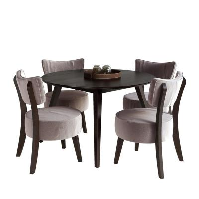 Atwood 5-Piece Dining Set with Soft Grey Velvet Chairs