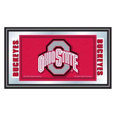 Ohio State University Red 15 in. x 26 in. Black Wood Framed Mirror