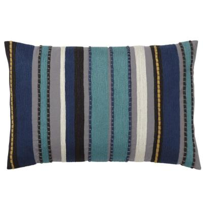 Embroidered Blue Stripe 16 in. x 24 in. Decorative Throw Pillow Cover