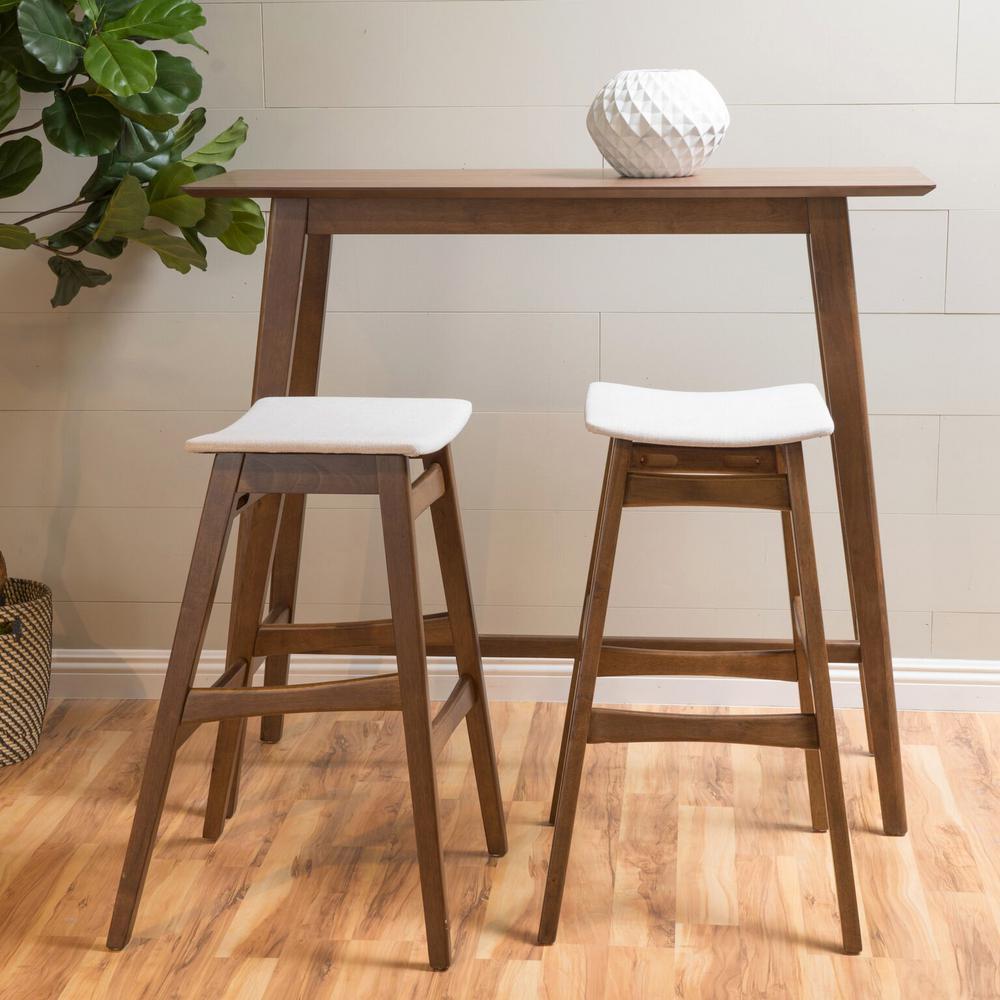 3-Piece Natural Walnut Wood and Light Beige Fabric Bar Set