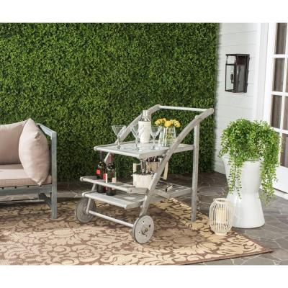 Lodi Grey Wash/Beige Acacia Wood Outdoor Bar Cart with Wheels