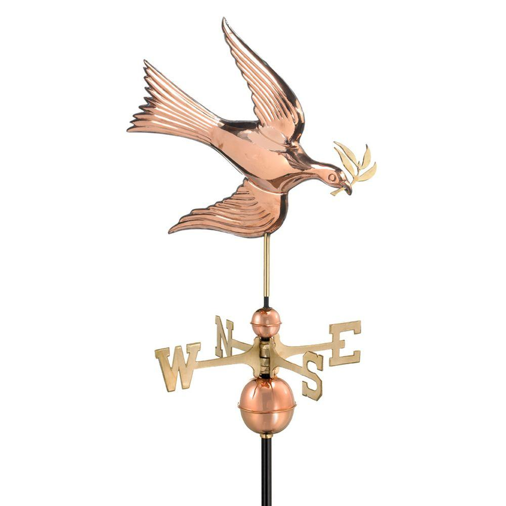 Good Directions Polished Copper Dove Weathervane