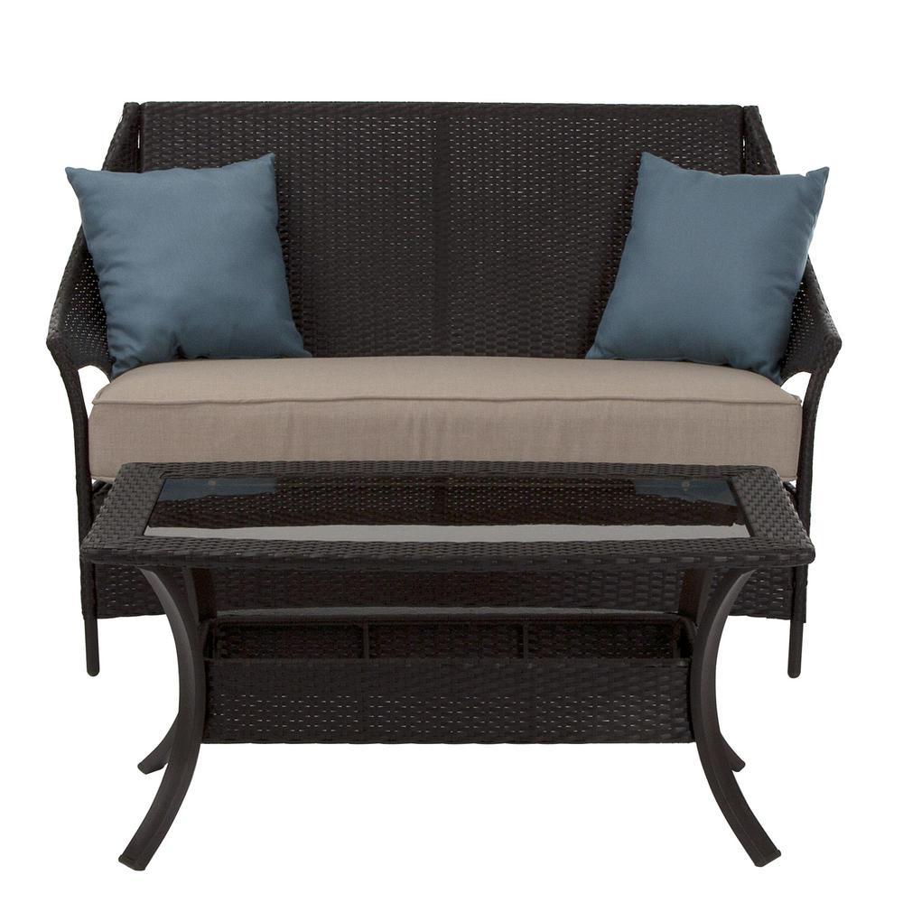 Lakewood Isle 4-Piece Dark Brown Wicker Patio Seating Set with Tan Cushions